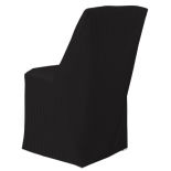 Black Classic Linen Square Folding Chair Cover