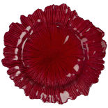 Red Oyster Glass Charger Plate