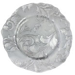 Silver Parisian Glass Charger Plate