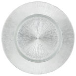 Silver Starburst Glass Charger Plate