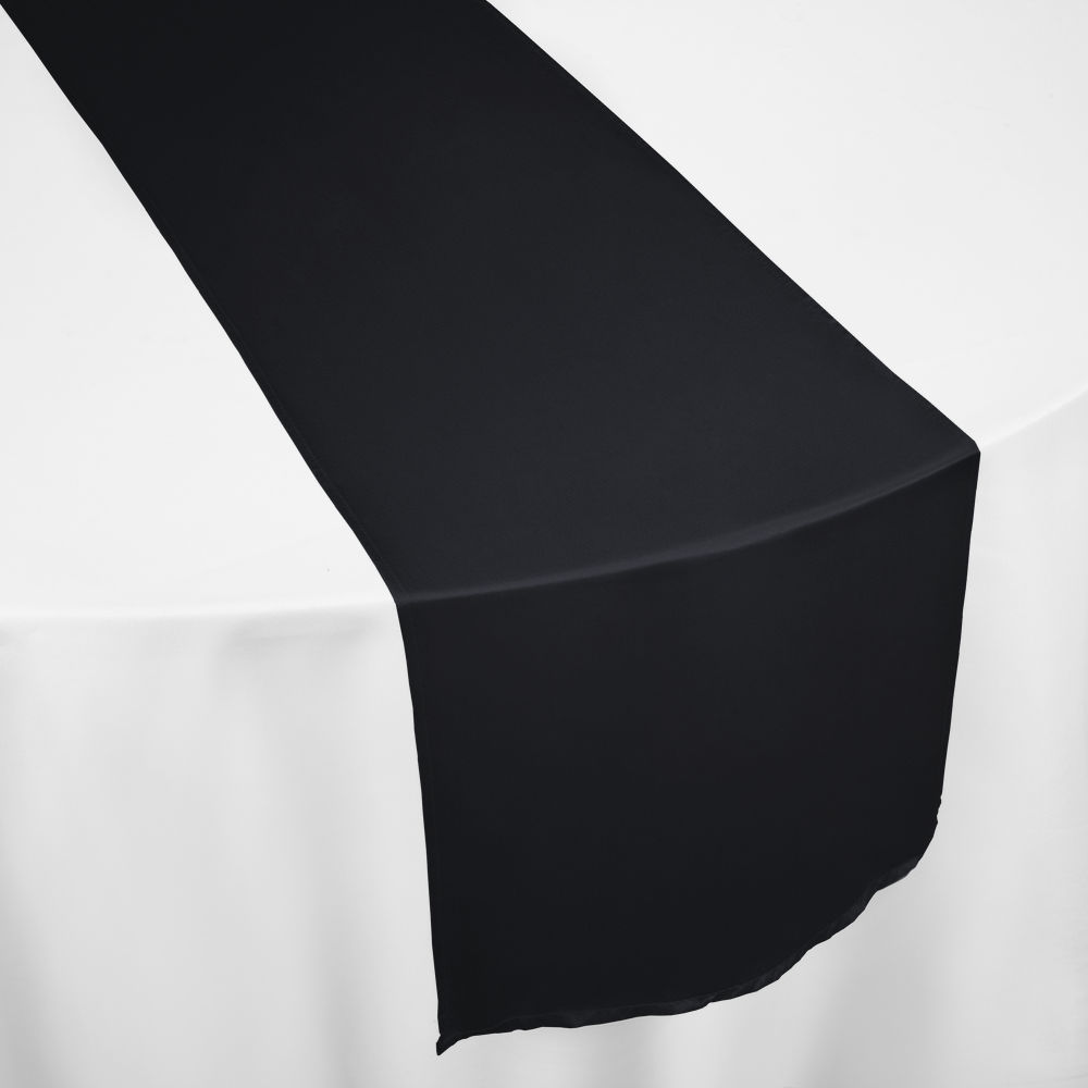 Black Duchess Satin Table Runner