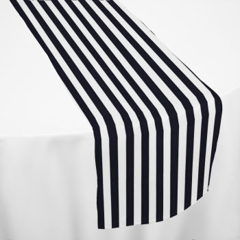 Black Printed Stripe Table Runner
