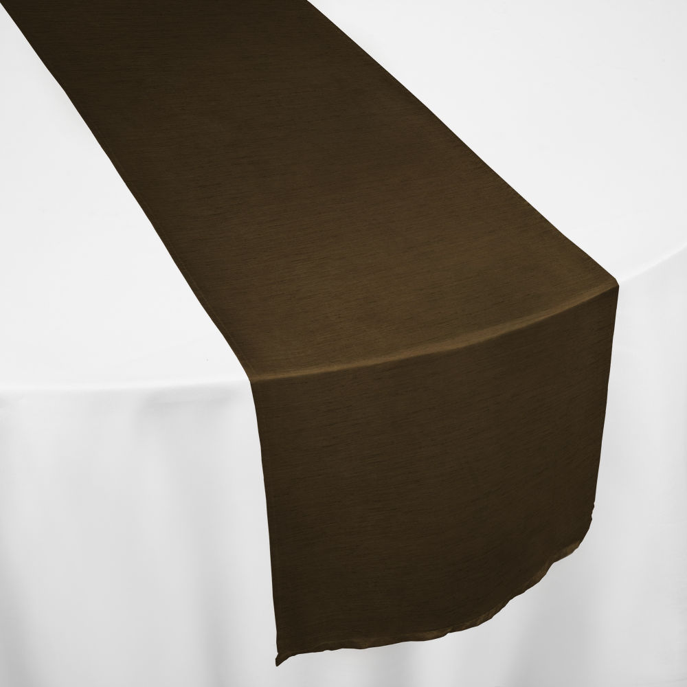 Brown Faux Dupioni Table Runner
