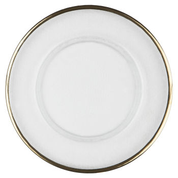 4e4fb0c12bc5 Gold Thin Rim Glass Charger Plate by Chair Covers   Linens