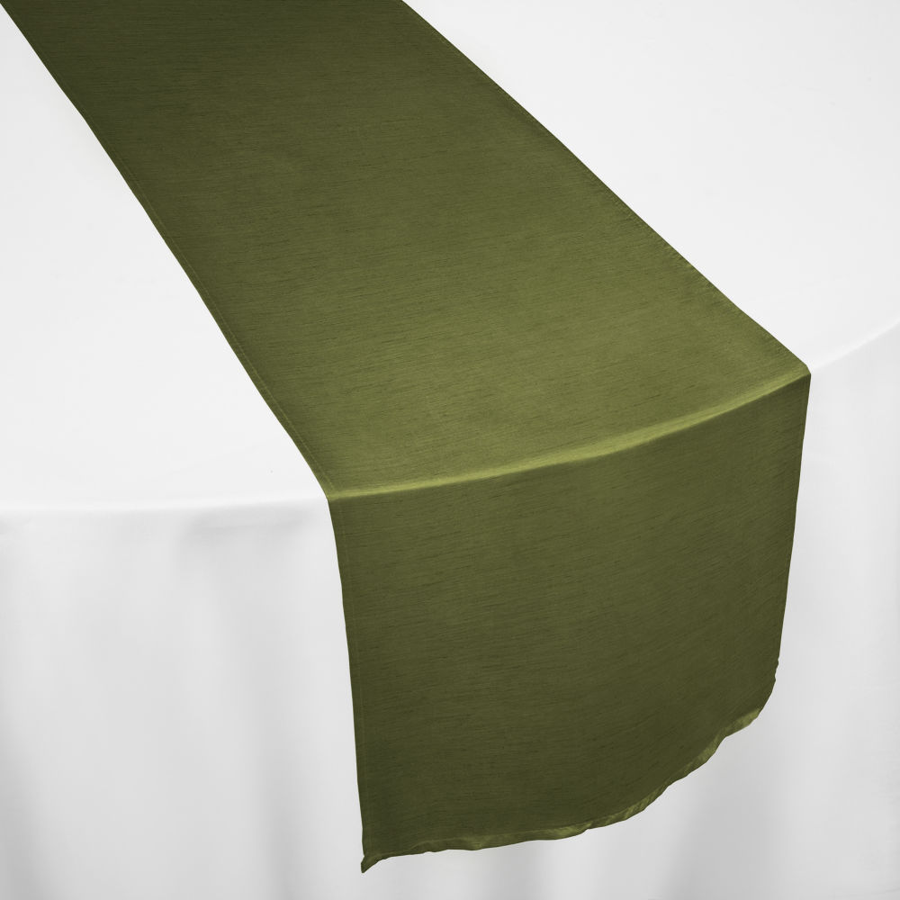 Moss Faux Dupioni Table Runner