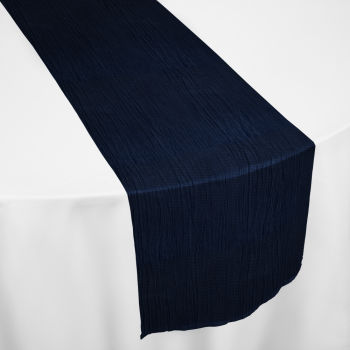 Navy Crinkle Taffeta Table Runner