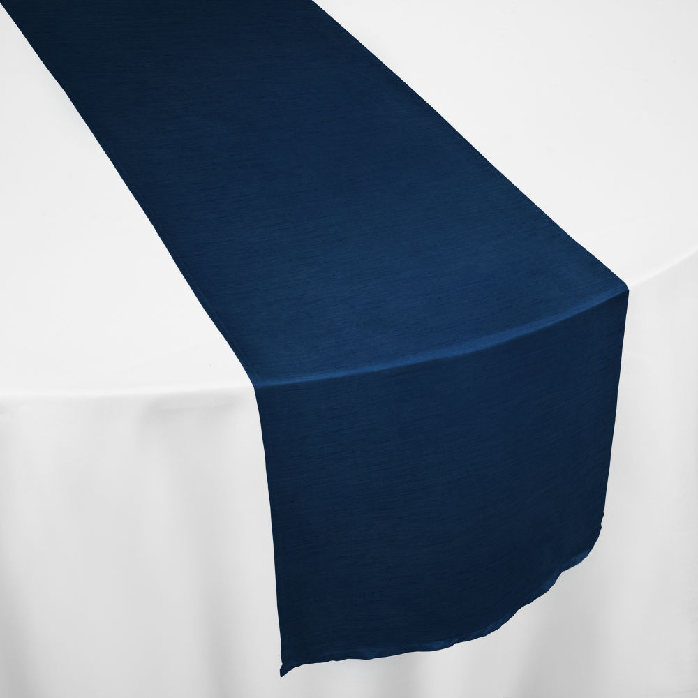Navy Faux Dupioni Table Runner
