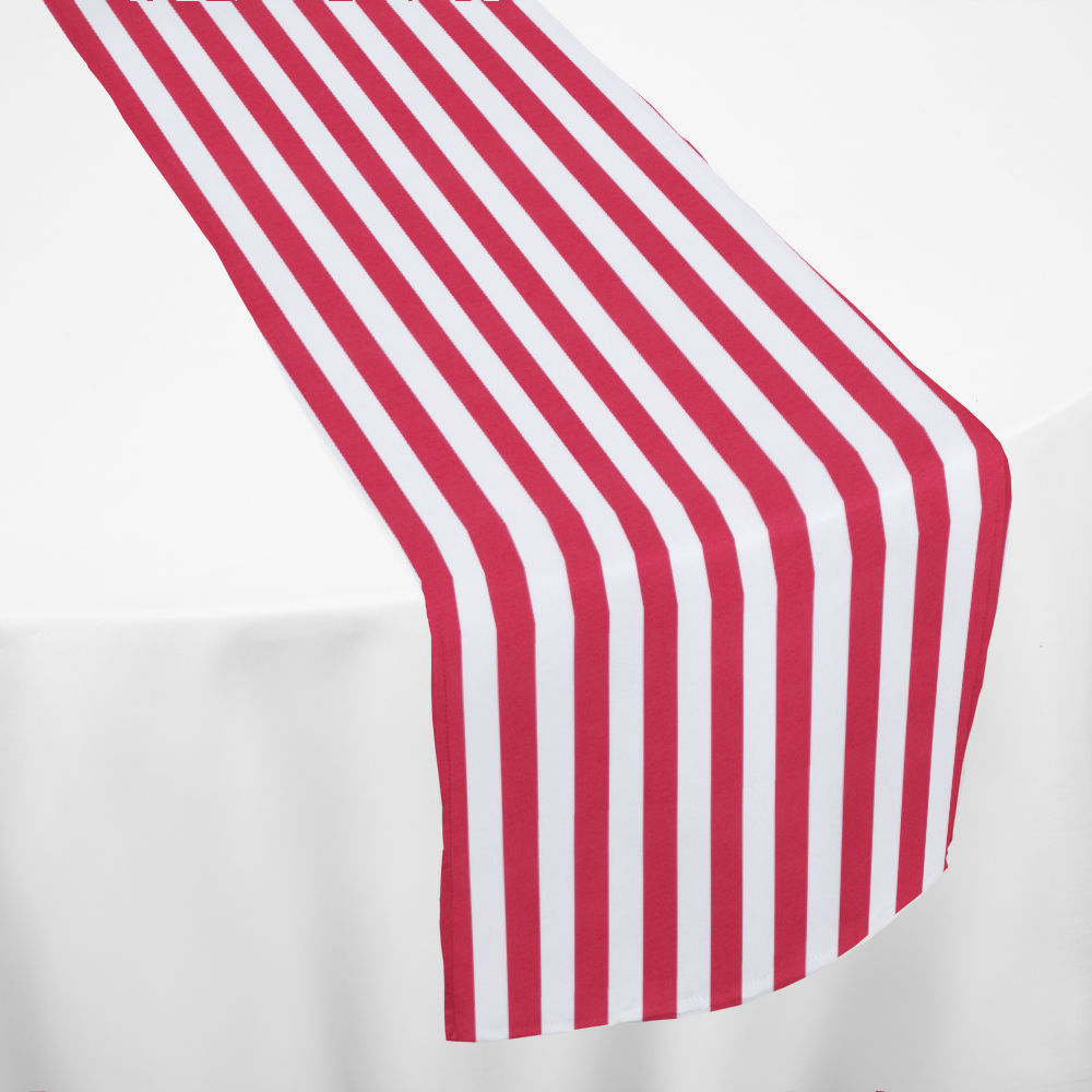 Red Printed Stripe Table Runner