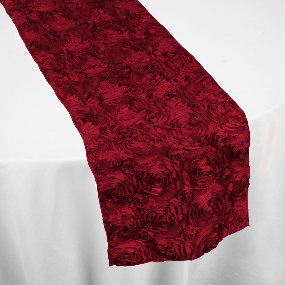 red roses table runner by chair covers linens. Black Bedroom Furniture Sets. Home Design Ideas