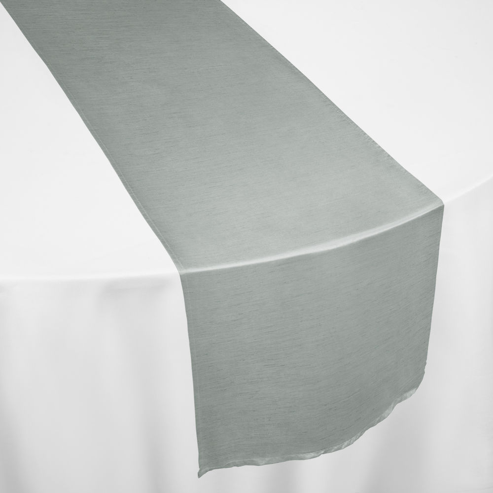 Silver Faux Dupioni Table Runner