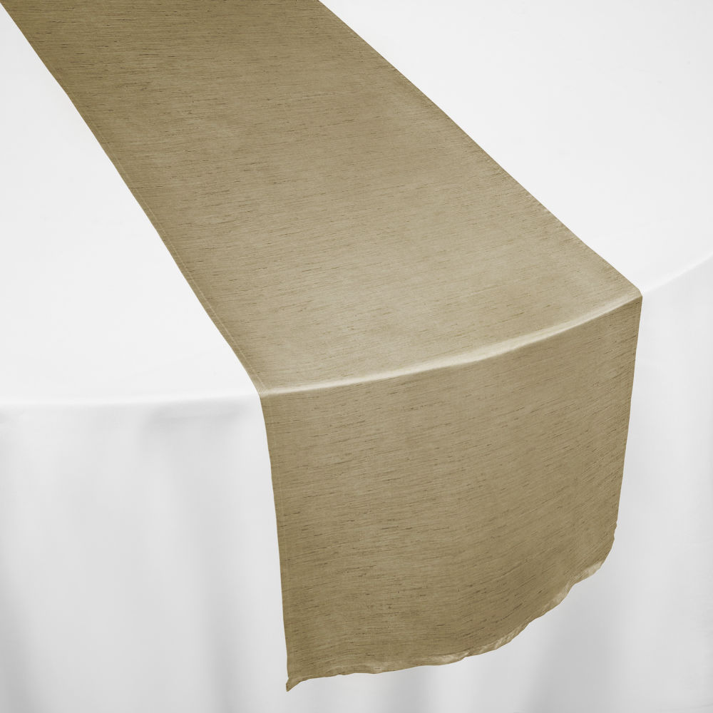 Taupe Faux Dupioni Table Runner