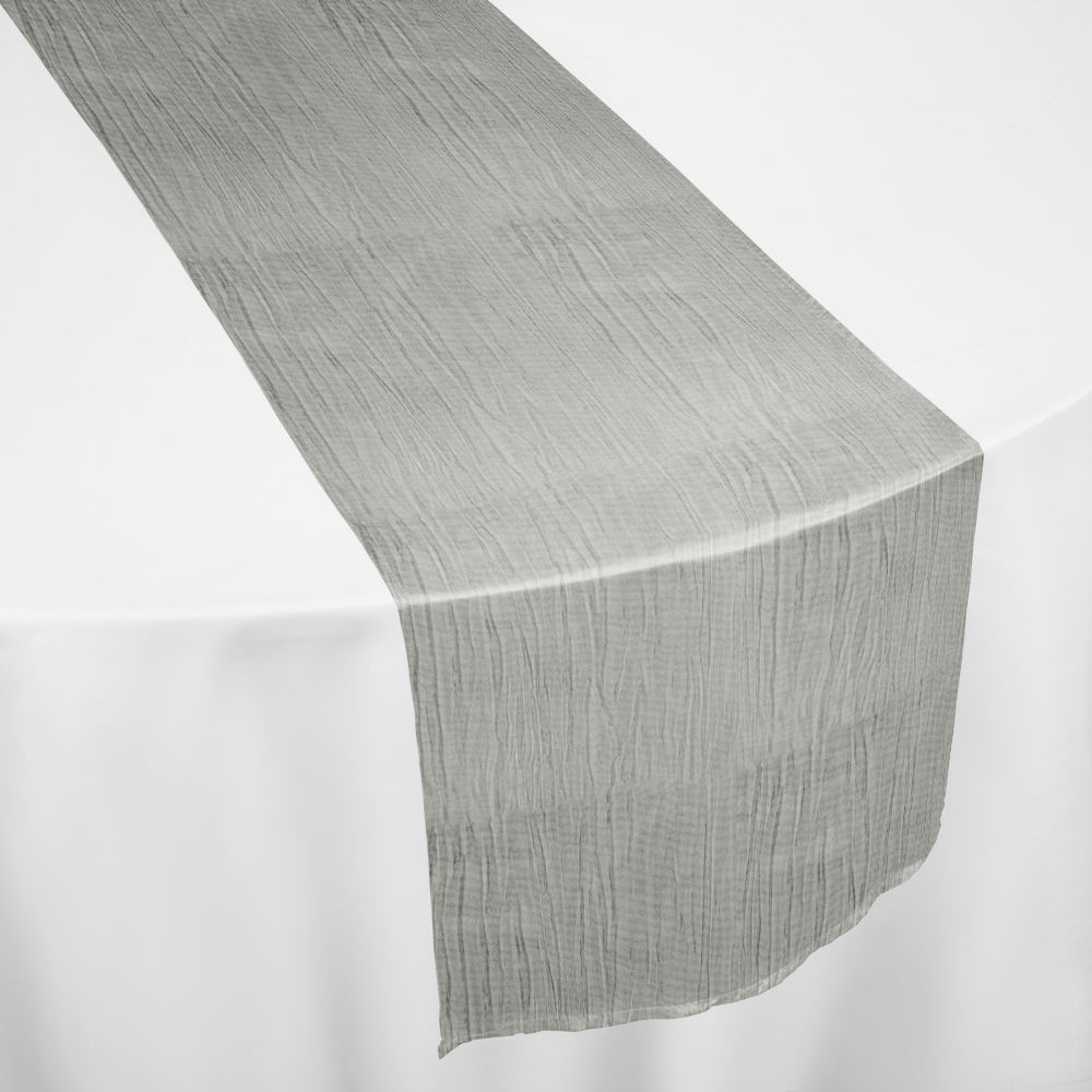 White Crinkle Taffeta Table Runner
