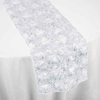 Phenomenal White Roses Table Runner By Chair Covers Linens Theyellowbook Wood Chair Design Ideas Theyellowbookinfo