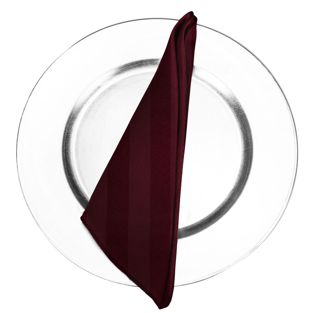 Wine Satin Stripe Napkin